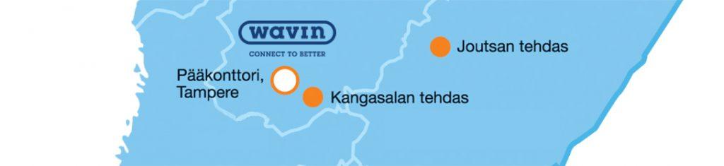 Wavin toimipisteet kartalla Suomessa
